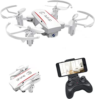 Bitzong White Mini Pocket Portable Foldable Quadcopter Drone with 720P HD Camera Live Video For Kids and Beginners Indoor...