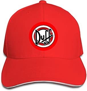 Qmad Mens The Simpsons Duff Beer Cotton Snapback Hats Light Fashion Watch Ball GamesMid Crown Curved Bill Tennis Cap