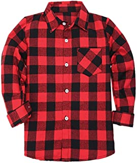 SANGTREE Boys' & Men's Plaid Flannel Button Down Shirt, 3 Months -Men XXL