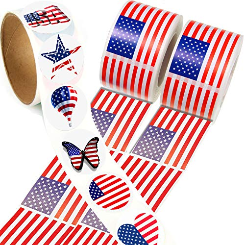 OuMuaMua Label Sticker Sheets for Kids - 3 Rolls1-3/5 Inch American Flag Suitcase Stickers Vinyl Decals,Reusable Roll Sticker for Children, Game Prizes, Teacher Reward, Party Favor & Supplies