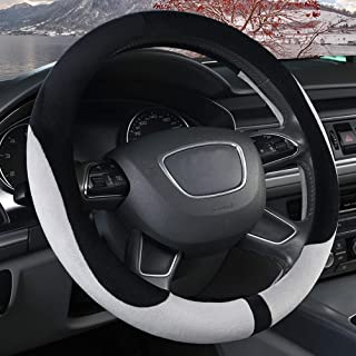XiXiHao Winter Steering Wheel Cover Size 38CM Fit Mostly Car Auto Warm Plush Heated Warmer White