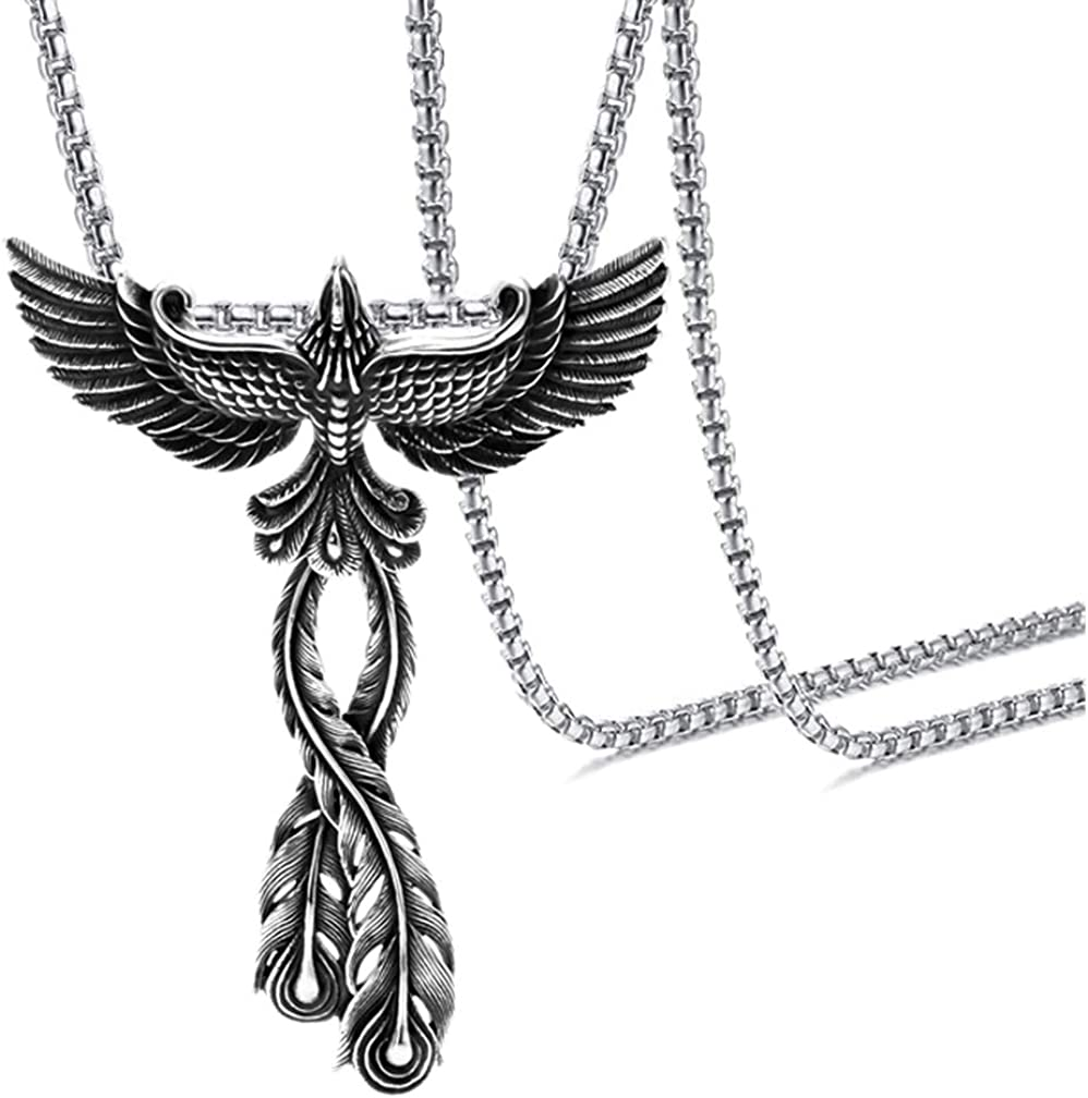 Xusamss Punk Titanium Steel Animal Phoenix Pendant Necklace,24inches chain