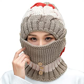 Hat Fashion Women's Hat Mask Kit Winter Thick Keep Warm Fashion Accessories (Color : Brown)