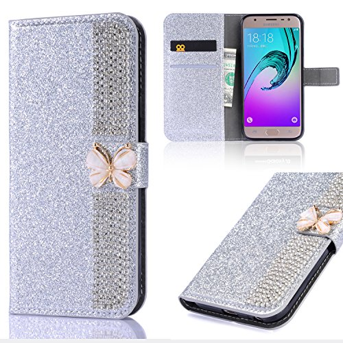 Xifanzi Flip Wallet Case for Galaxy S6 Edge Silver Glitter Cool Cute 3D Butterfly & Chain Diamond Buckle Bling Glitter Book Wallet Buckle Protective Cell Phone Cases for Samsung Galaxy S6 Edge