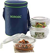 Borosil Glass Lunch Box Set of 3, 400 ml, Microwave Safe Office Tiffin