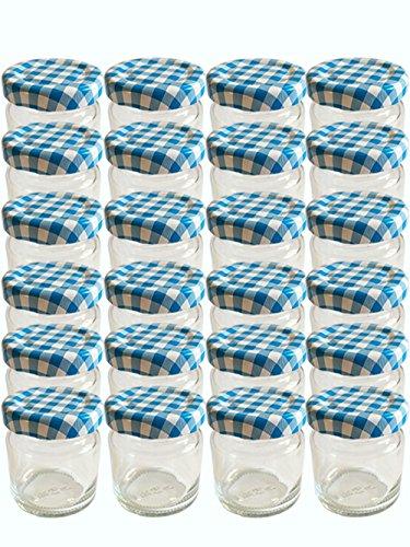 28er Set leere Rundgläser Mini Gläser 53 ml Deckelfarbe Blau Weiss Karriert To 43 Sturzgläser Marmeladengläser Einweckgläser Senf, Honig, Gläser, Einmachgläser, Portionsgläser Probiergläser