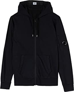 C.P. COMPANY Light Fleece Garment Dyed Hoodie, Sweatshirt, Man, Zip, Black (x_l)