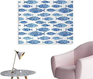 Tudouhoho Blue Funny Poster Fish Sea Animal Figures with Ancient Ottoman Ornate Mosaic Hand Drawn Style Marine Artwork Corridor/Indoor/Living Room Blue W48 xL32