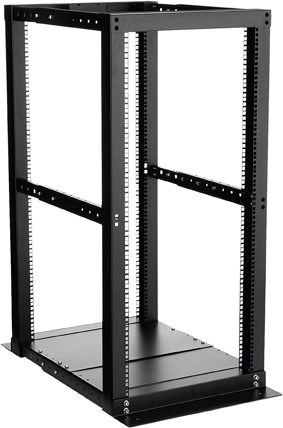 25U Black Open Frame Server Rack Cabinet with Casters, 19