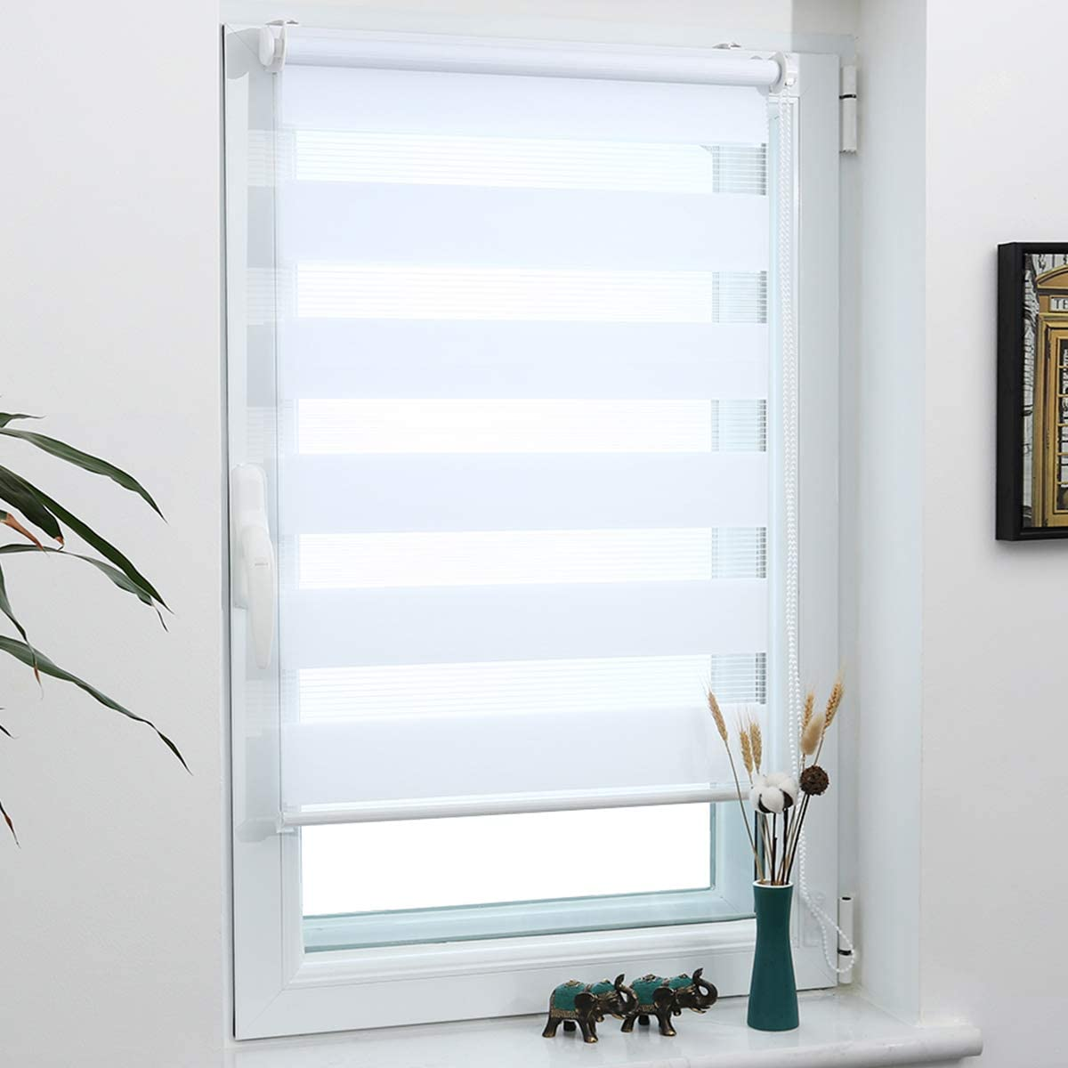 Grandekor Zebra Roller Day and Night Bilnd Roller Bilnds Chain for Window Easy Fix without Drilling Security, Privacy & Style - White - 70x120cm (WxD) W70 x D120 cm (fabric wide=66cm) White
