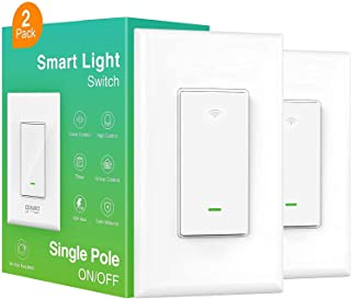 Smart Light Switch, 2 Pack WiFi Wall Switch Works with Alexa and Google Assistant, Single Pole 15A - In Wall Installation,...