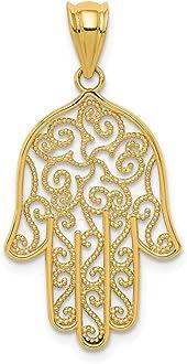 FB Jewels Solid 14K Yellow Gold Satin Diamond-cut Sea Life Pendant