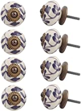 Indian-Shelf Handmade Ceramic Flower Dresser Knobs Kitchen Pulls Wardrobe Handles(Purple, 1.50 Inches)-Pack of 8