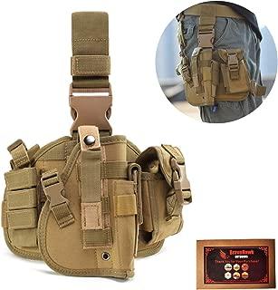 BraveHawkOutdoors Tactical Drop Leg Holster, 900D Military Tactical MOLLE Pistol Handgun Thigh Holster Platform Panel for Glock 17 18 19 26 34 and More
