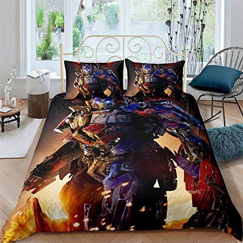 Transformers Thema Bettwäsche-Set, EIN Bettbezug Mit Transformers Muster, Bettlaken 135 x 200cm Spannbettlaken Kinder, Transformers d, 135 x 200 cm