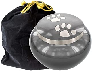 Trupoint Memorials Always Faithful Round Small Gray Pet Urn for Dogs and Cats Pet Ashes – A Perfect Resting Place for Your...