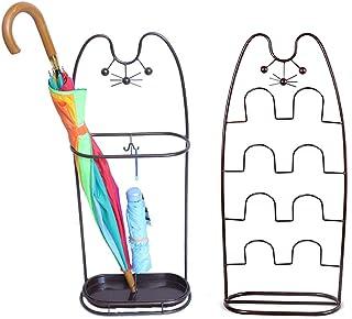 RAKU 傘立て スリッパラックセット かさたて 玄関 おしゃれ 傘置き 業務用 省スペース ステンレス 可愛い猫顔 長傘 折り畳み傘兼用 水受け皿付き 玄関収納 コンパクト黒/ブラウン2色可選択 (ブラウン)