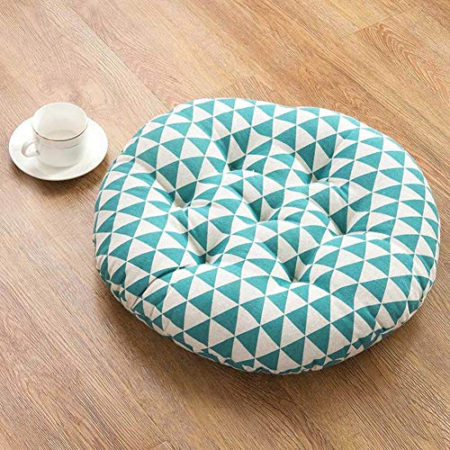 Round Pillow Seat Cushion,Japanese Futon Chair Pad,Quilted Cotton Linen Chair Mat for Living Room Balcony Garden Party J 50x50cm(20x20in)