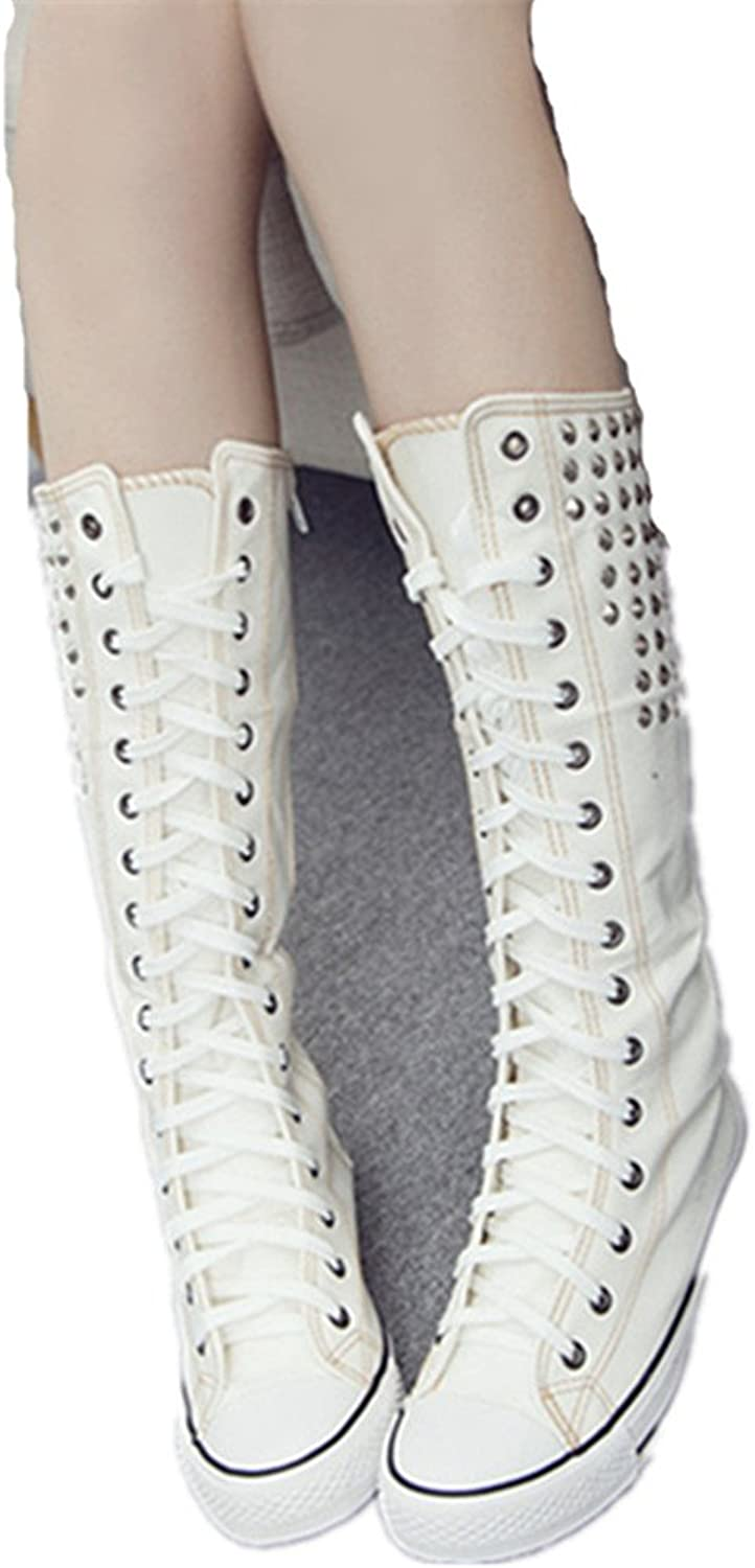 Jackdaine Dancing shoes Boots Boots Rivets shoes High Zipper with Side Zipper Flat Students Canvas shoes