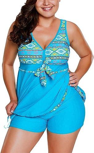 DATE Maillot de Bain Femme Taille Plus Maillot de Bain Deux pièces imprimé Haut de Maillot de Bain rembourré à Taille Haute (Couleur   Bleu, Taille   XXL)