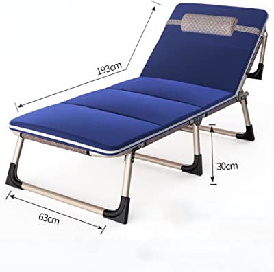 Adjustable Recliner with Headrest, Foldable Single Bed Deck Chairs Portable Chaise Lounges, Office Balcony