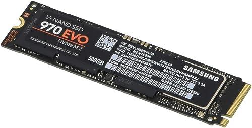 Samsung (MZ-V7E500BW) 970 EVO SSD 500GB - M.2 NVMe Interface Internal Solid State Drive with V-NAND Technology, Black...
