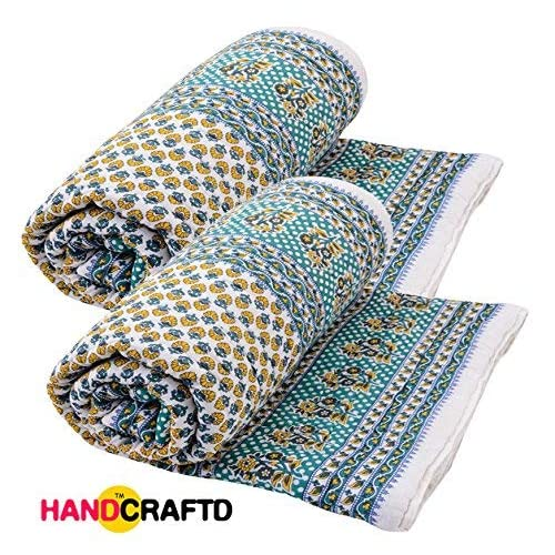 Handcraftd Jaipuri Print Cotton Single Bed Razai Quilts Blankets for Home, 85x55 Inches(Multicolour) - Pack of 2
