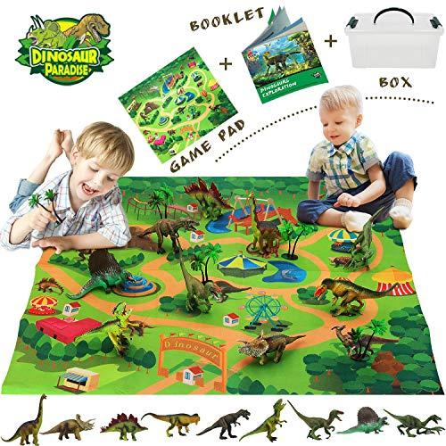 Bdwing Dinosaure Jouet, Dinosaures éducatif réaliste avec Tapis de Jeu pour créer Un Monde Jurassique, y Compris T-Rex, tricératops, Velociraptor, Cadeau pour Enfants