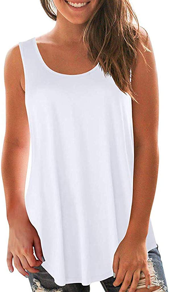 AODONG Crop Top Tank Tops for Women Women's Solid Summer Round Neck Sleeveless Shirt Casual Tunic Tops Blouse Camis Tops