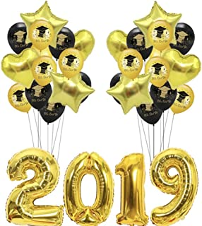 CheeseandU Gold 2019 Balloons Graduation Party Decorations 32Inch 2019 Foil Ballons + 20 12