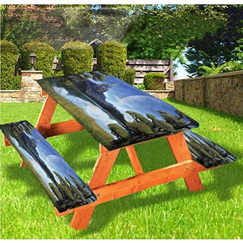 Mantel de mesa y banco de picnic de fantasía, Riverside Lake Scene, mantel de borde elástico ajustable, 70 x 72 pulgadas, juego de 3 piezas para camping, comedor, al aire libre, parque, patio