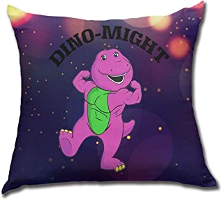 WangJhjfg Dino-Might Buff Barney Throw Pillow Decorative Pillow Case Home Decor Square 17.7 X 17.7 Inch Pillowcase Cushion Case for Sofa Bedroom Or Living Room Decorative Pillow Case