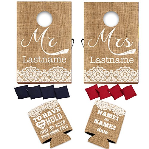 """VictoryStore Wedding Reception Set: Neoprene Customizable Rustic """"To Have And To Hold"""" Wedding Can Coolers Set of 50 AND Custom Wedding Cornhole Rustic, Vintage Burlap Design - Wedding Bundle"""