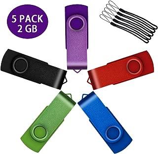 ホールとUflatek 5個 USBメモリ2GB USB 2.0フラッシュドライブ回転ミニタイプサムドライブストラップ外部記憶 - マルチカラー:紫 赤 青 緑 黒