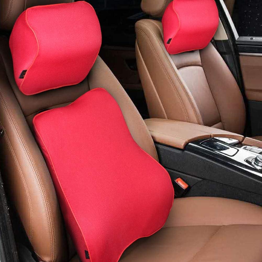 Almohadilla del cuello del coche, amortiguador trasero, almohadas de espuma, que se utiliza en accesorios de asiento de coche, utilizado para aliviar el cuello y el dolor de cintura,Rojo