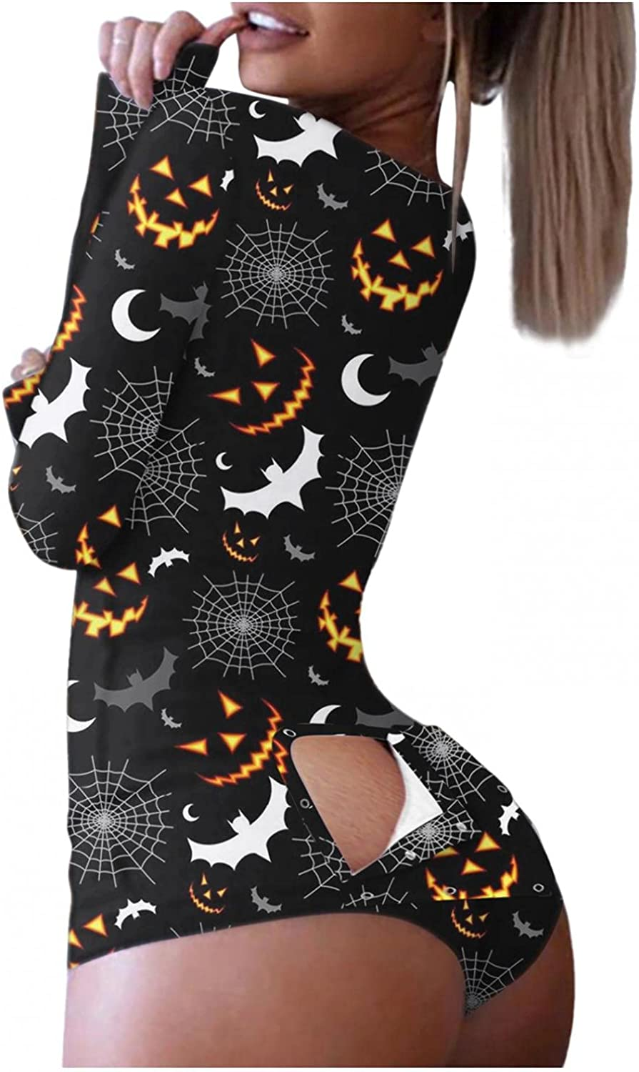 Masbird Halloween Jumpsuits for Women, Button-Down Print Functional Buttoned Flap Adults Sexy Lingerie Chemises Pajamas