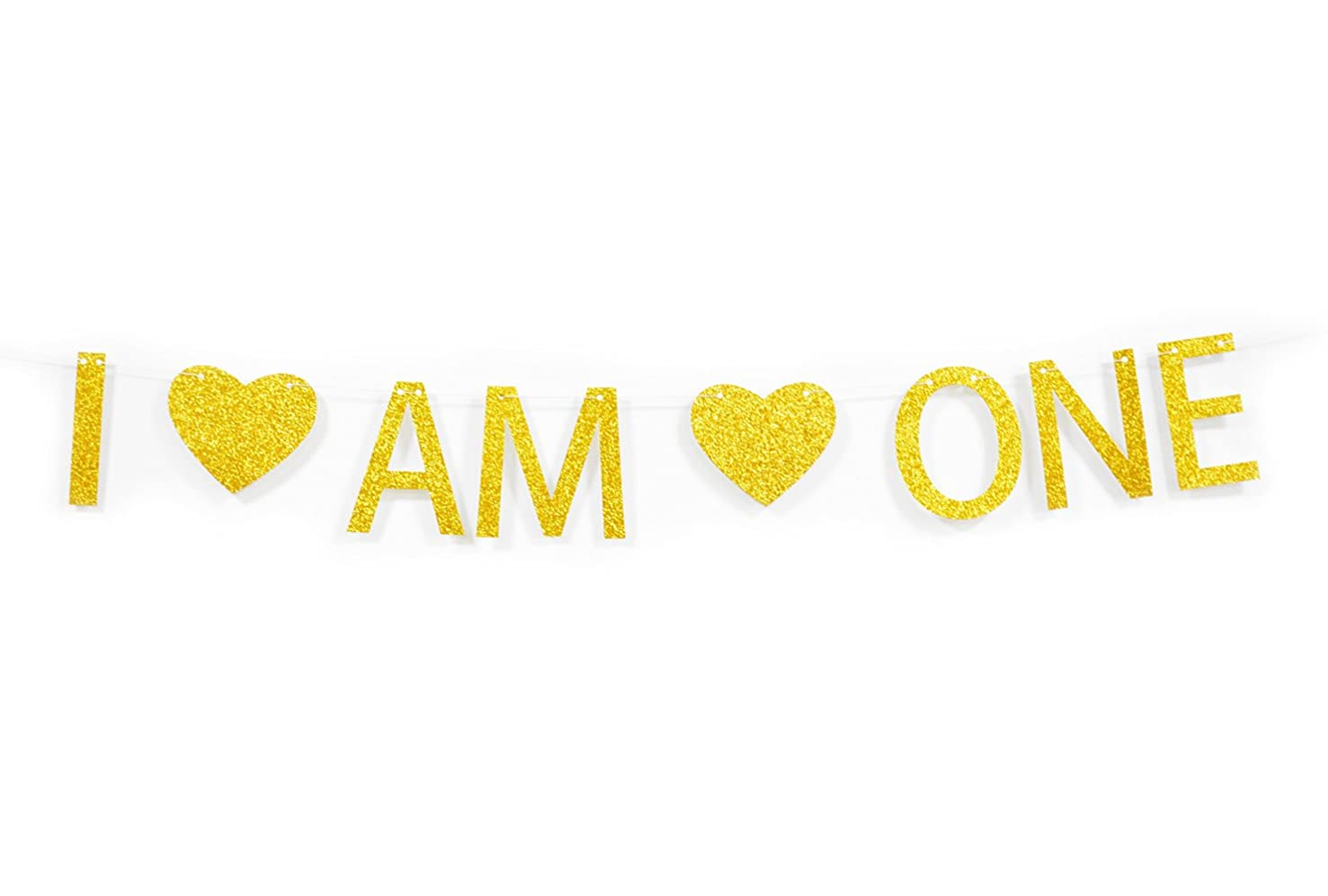Qttier(TM) I AM ONE Gold Glitter Banner for Babys' 1st First Birthday Party Decorations