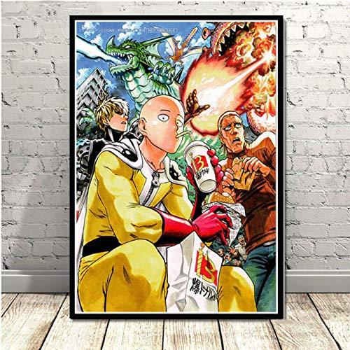 GaoDashan One Punch Man decoración del hogar Impresiones Anime Japón Pintura Cuadros Pared Arte Lienzo Cartel Fondo de cabecera JW-524 Sin Marco Poster 50X70Cm