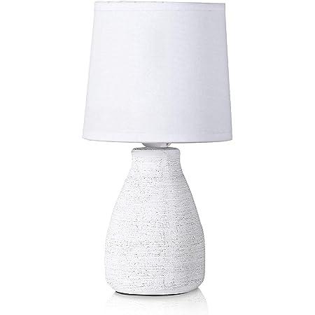 BRUBAKER - Lampe de table/de chevet - Design scandinave/moderne - Hauteur 28 cm - Pied en Céramique - Abat-jour en Coton/Blanc