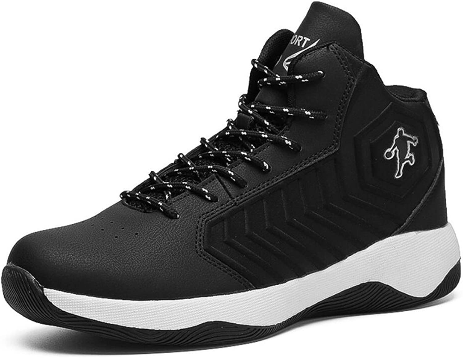 XUE Men's shoes Basketball shoes PU High-Top Sneakers Summer Comfort Lace-up shoes Outdoor Hiking shoes Travel Personality Cool (color   B, Size   42)