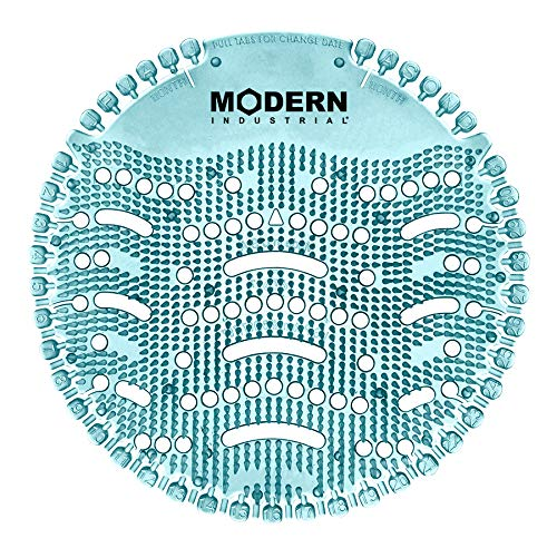 Urinal Screen & Deodorizer Pads with Date Tabs (10-Pack) by Modern Industrial - Made in USA (Blue Ocean Mist Scent)