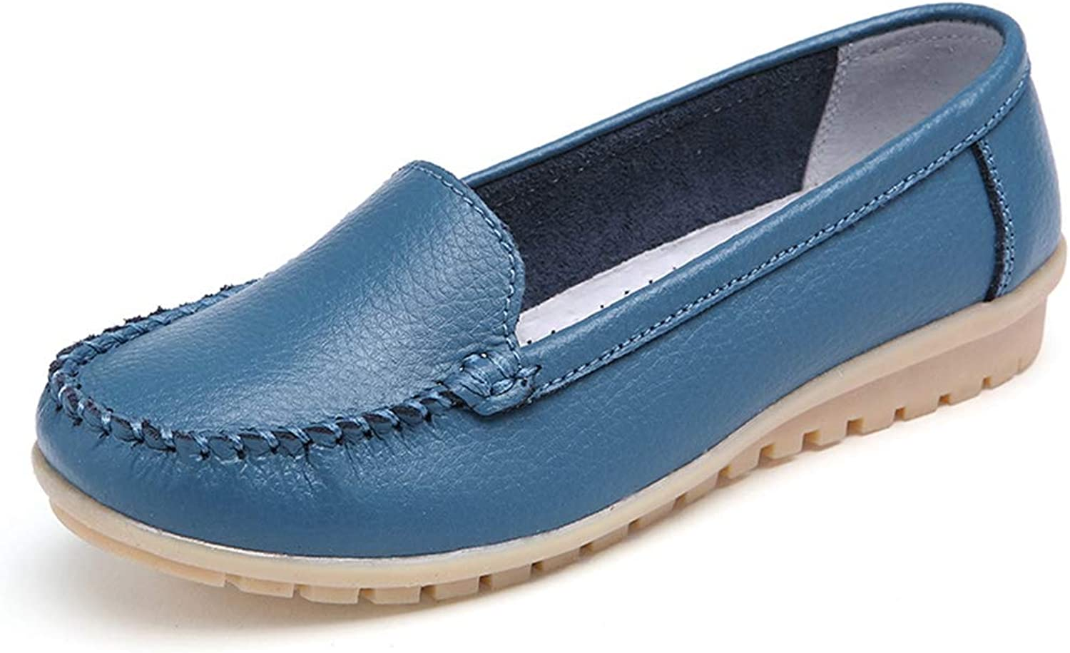 T-JULY Summer Women Flats Leather Driving shoes Ladies Slip on Flats Candy color Ballet Loafers