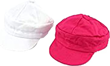 Set of 2 Baker Boy Hats- White and Hot Pink | Fits 18