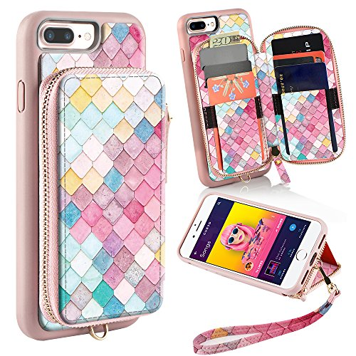 ZVE Wallet Case for Apple iPhone 8 Plus and iPhone 7 Plus, 5.5 inch, Zipper Wallet Case with Credit Card Holder Slot Handbag Purse Print Case for Apple iPhone 8/7 Plus 5.5 inch - Mermaid Wall
