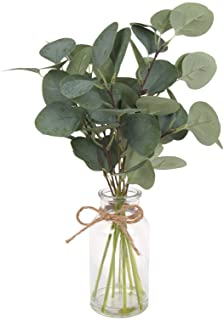 F&D Home 15.75''High Artificial Eucalyptus Leaves in Glass Vase,8 Pcs Artificial Eucalyptus Leaves Plants with Hemp Rope f...