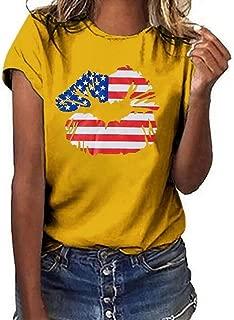 FSSE Women's Summer Cotton Loose Fit Round Neck American Flag Print Lip-Print Blouse T-Shirt Top