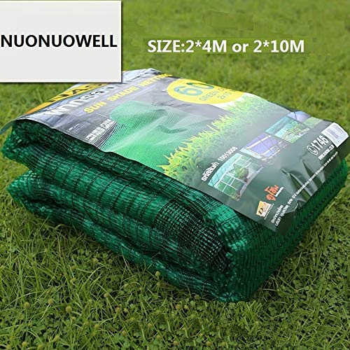YQUC High Density Home Shade Preferred Balcony 60% Sun Shading Net Sun Screen Plant Shading Net Windbreak 6Ft x 13Ft/2 Meters x 4 Meters(10 Meters) (Color : A green 2X4meters)