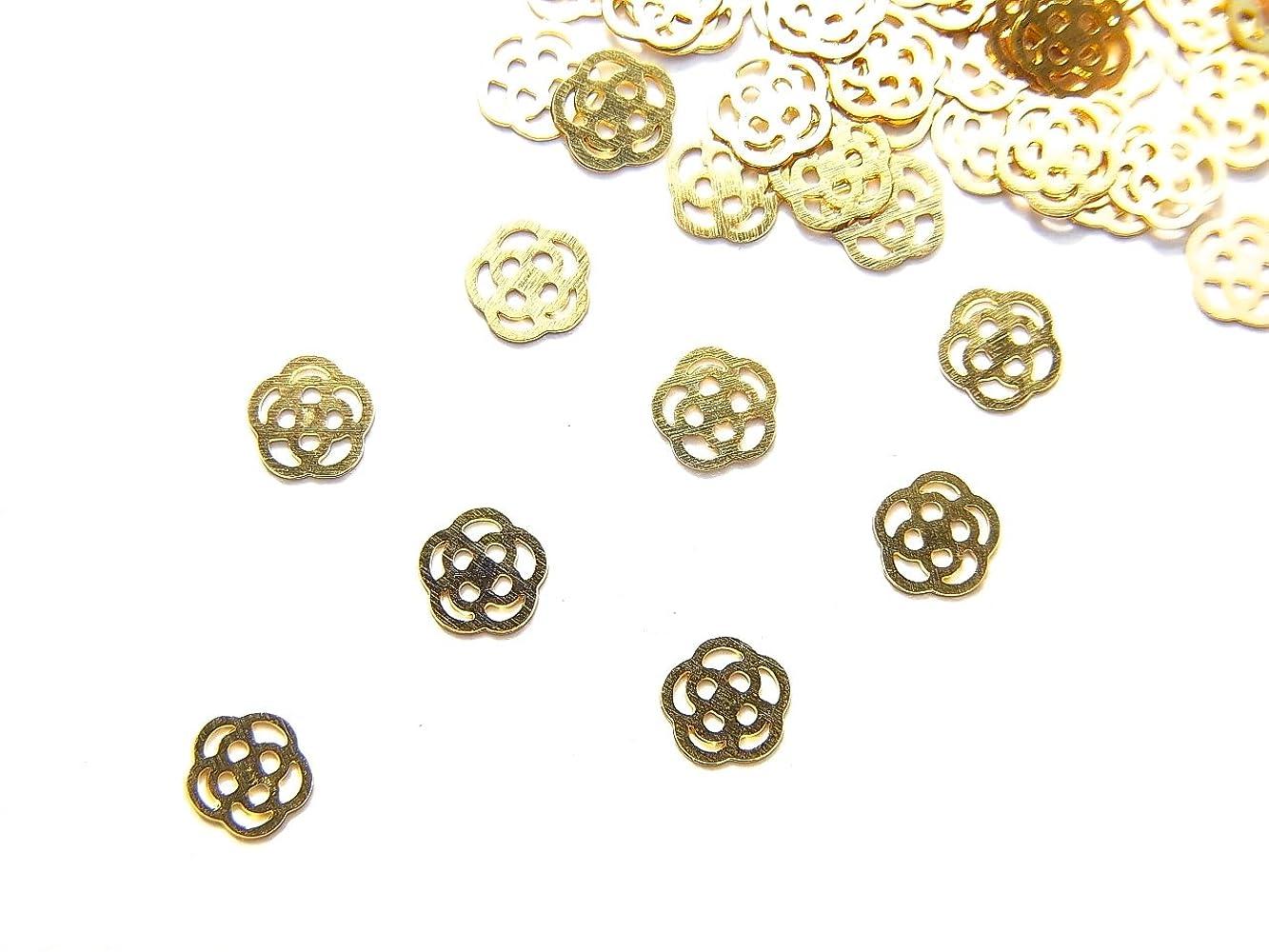 スキニーインフレーション極端な【jewel】ug29 薄型ゴールド メタルパーツ Sサイズ 薔薇 ローズ 10個入り ネイルアートパーツ レジンパーツ