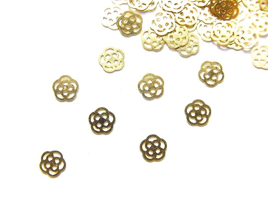 復讐それに応じてパーセント【jewel】ug29 薄型ゴールド メタルパーツ Sサイズ 薔薇 ローズ 10個入り ネイルアートパーツ レジンパーツ