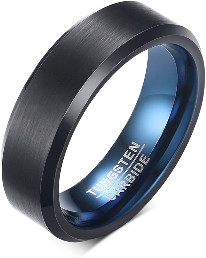 Cut Band Ring 4mm Stainless Steel with Black Ceramic Diamond Free Engraving